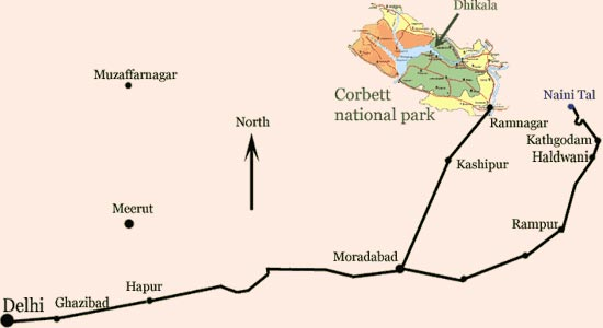Corbett National Park, route of Corbett National Park, maps of Corbett ...